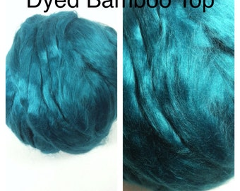 Dyed Bamboo Top Malachite / Dyed Bamboo Roving  / 2oz 4oz 8oz