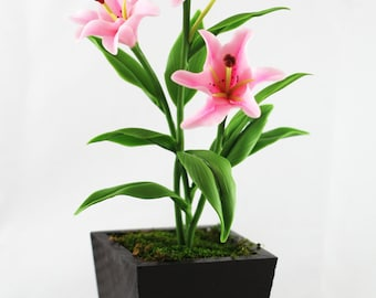 Luxury Artificial  Lily Flowers Decor Like nature 3 Stems with Wood Pot