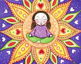 Meditating girl wall art a4 print yoga wall decor lotus flower art meditation chakra wall art gift for friend present for sister - 'Bloom'
