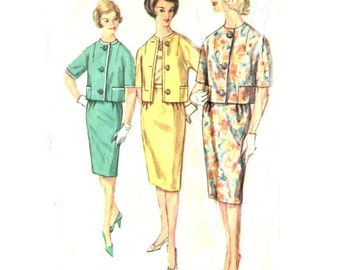 1960s Misses Two Piece Suit - Simplicity 3899 - Proportioned Short / Medium / Tall - Vintage Sewing Pattern - Size 16 / Bust 36