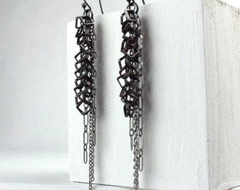 Long Chain Earrings, Geometric Chain, Mixed Metal Statement Earrings, Black and Silver Dangle Earrings, Black and Gold Chain Dangles