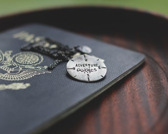 compass necklace: adventure awaits (inspirational travel quote - READY to MAIL) sterling silver necklace