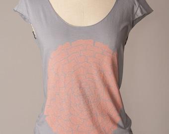 ON SALE womens flower tshirt, womens tshirt, gray tshirt, coral-and-gray, gray-and-coral, coral ranunculus flower