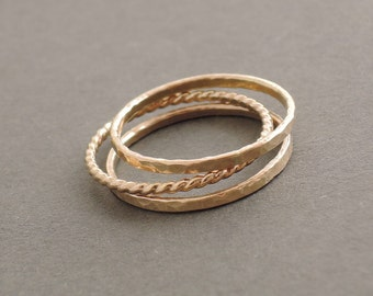 Gold Stacking Rings Three Gold Rings 2 Gold Filled hammered rings and 1 twist Ring - Gold Jewelry