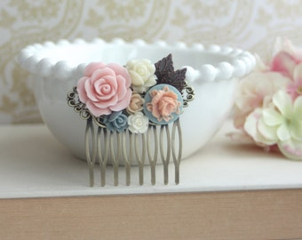 Pink Rose , Dusty Blue, Blue, Ivory Collage Flower Hair Comb. Bridesmaids Gift, Pink Wedding Comb. Rustic Pink Wedding. Bridal Hair Piece