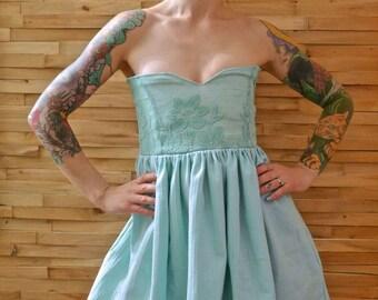 Vintage Mint Lace Strapless Babydoll Mini Dress with Pockets|Sweetheart Neckline|Empire Waist Dress|Day Dress|Party Dress|Cocktail Dress