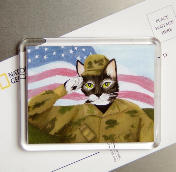 ARMY Cat Magnet, Cat Wearing American Military Uniform, Fridge Magnet