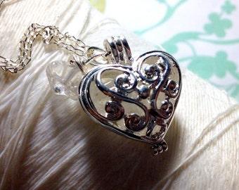 Worry Locket - quartz heart locket / heart locket / silver locket / floating locket / quartz necklace / living locket / memory locket