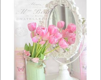Spring Flower Photography, Shabby Chic Decor, Dreamy Pink Tulips, Shabby Chic Pink Flowers, Pink Flower Prints, Pink Tulips Wall Art Print