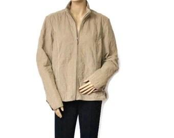 Extra Large Vintage Jacket Quilted Jacket Corduroy Eddie Bauer Sporty Brown Cotton Beige Coat Womens Size XL