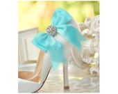 Wedding Shoe Clips Bow. Aquamarine Aqua Blue. Teal White Ivory Navy. Shiny Rhinestones. Fashion Engagement, Satin Ribbon Sage Pink Red Black