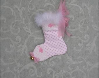 Pink Mini Christmas Stocking Gift Card Holder Feather Boa Trim Christmas Ornament