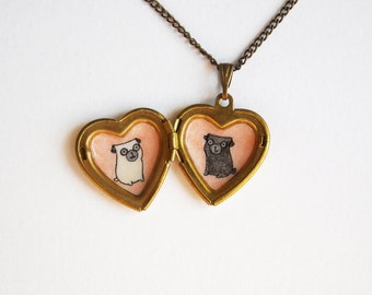 Pug Jewelry - Heart Locket Necklace with Fawn and Black Pug