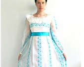 1960s Dress - Alice In Wonderland - alternative wedding dress - bridesmaid -prom - formal dress - S M