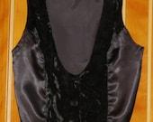 1970s Goth Black Velvet Vest