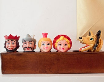 Set of Five Rubber Puppet Heads