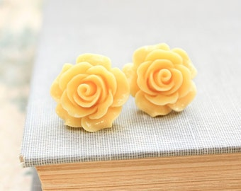 Yellow Rose Earrings Large Rose Stud Surgical Steel Post Bridal Floral Accessories Friendship Gift Statement Flower Jewelry Boho Hippie Chic