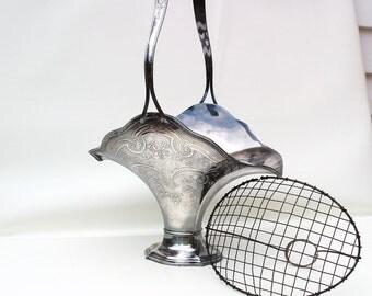 Vintage Brides Basket | Silverplate Basket | Wedding Basket | Flower Vase | Metal Frog | Wilcox Silver