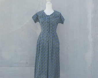 1950s Blue Green Fit and Flare Dress 50s Vintage Portrait Collar Full Skirt Mid Century Geometric Scarf Novelty Print Medium Large Day Dress