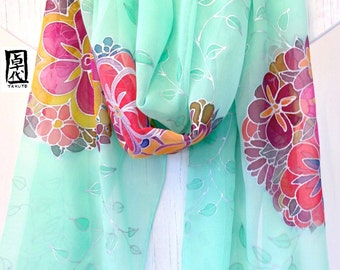 Wedding Shawl, Spring Chiffon Scarf, Handpainted Scarf, ETSY, Mint Kimono Floral Evening Wrap, Oversized Scarf, 22x90 inch. Made to order.