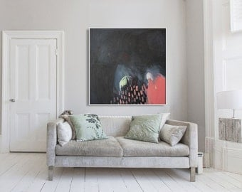 "black ABSTRACT print,GICLÉE print, pink, salmon, expressionist, ""Celestial Sky"""