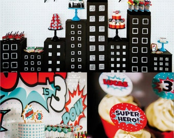 SUPERHERO Party Printable Set - Cupcake Toppers, Favor Tags and more