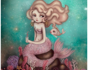 Large Size - Undersea Bubble Tea Limited Edition Fine Art Print - Inspired by Mermaids, the Rainbow Fish, and Bubble-Tea