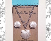 Seashell Mermaid Necklace & Earrings Combo