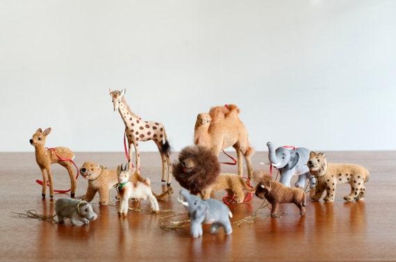 Vintage Set of 11 Handwork Animal Ornaments - West Germany