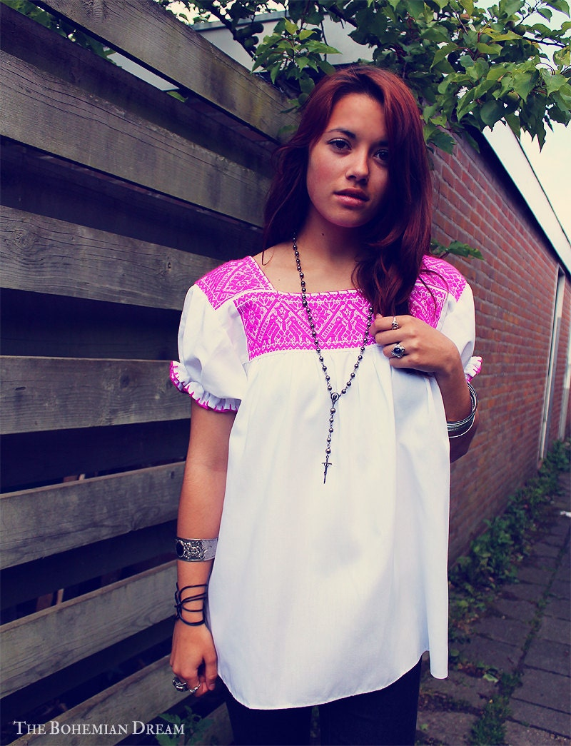 bohemian blouse top embroidered mexican huipil white pink