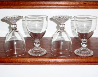 """2 BUBBLE FOOT Anchor Hocking 5 1/2"""" Tall Water Wine Goblets Glasses Ball Stems Pair Clear Crystal Two Excellent Condition"""