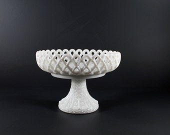 Vintage Challinor Taylor Milk Glass Compote Open Lattice Design with Daisy and Rib Trumpet Pedestal