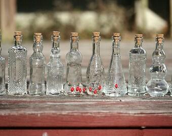 20 Glass Bottles Corked Bottles Bud Vases Vintage Wedding Bottles Vintage Style Vases Flower Vases Wedding Favor Bottles