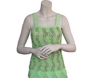 Hand knit,knit top green cotton flush,Top the shirt knitted sweater knitwear,Summer Knit Tops,Tank Top Simplicity,Cotton Top, hand knit tank