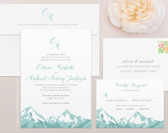 wedding invitations mountains | etsy, Wedding invitations