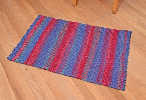 Hand Braided Rag Rug  - Blue & Red Striped Rectangle Cotton