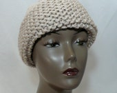 Winter Beanie in Oatmeal, Hand Knit Hat, Russian Style Beanie, Warm Ski Cap, Wool Toque, Cossack Hat, Winter White Hat, Free Shipping