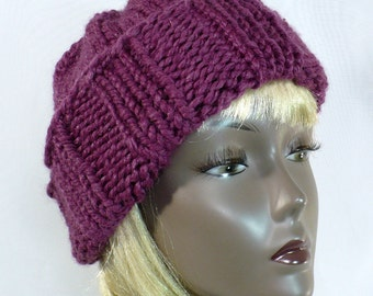 Hand Knit Purple Watch Cap - Slouchy Beanie, Wool Watch Cap, Chunky Knit Toque, Wool Toboggan, Sangria Slouchy, Winter Hats, Ready to Ship