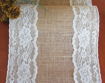EXTRA LONG Burlap table runner wedding table runner with vintage ivory lace rustic romantic wedding decoration