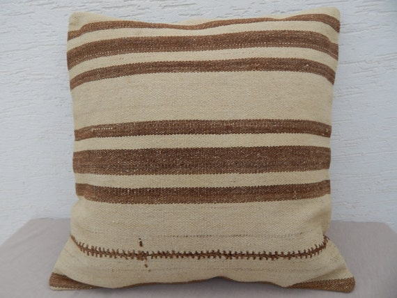 ETHNIC Kilim Pillow Cover, 24x24 ORGANIC Embroidered Outdoor Decor Euro Pillow Shams,60x60 Bohemian Chic, Large Decorative Pillows for Couch