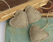 Burlap hearts Ornaments, Valentines Day Rustic, Christmas Home Decor, red hearts ornaments, red wedding love, Christmas gifts tags