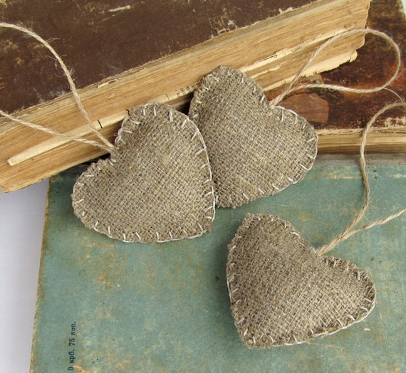 Burlap Tree Ornaments: Burlap Hearts Ornaments Valentines Day Rustic Christmas Home