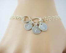 Double strand disc bracelet, Personalized silver disc bracelet, Infinity bracelet, Monogram jewelry, Initial bracelet, SB117