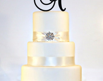 "5"" Monogram Wedding Cake Topper in ANY LETTER - A B C D E F G H I J K L M N O P Q R S T U V W X Y Z"