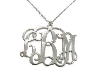 "Monogram Initial Personalized Necklace 1"" - Sterling silver 925. monogram jewelry."