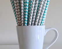 Teal and Gray Paper Straws Aqua and Grey Chevron Party Supplies Party Decor Bar Cart Accessories Cake Pop Sticks Mason Jar Straws Graduation