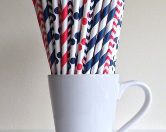 Red and Navy Blue Paper Straws Houston Texans Party Striped, Chevron, Polka Dot Nautical Party Supplies Party Decor Bar Cart Accessories