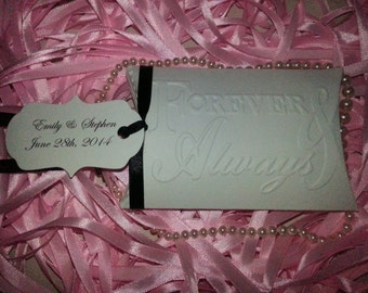 50  PILLOW BOXES  Forever and Always With Custom Tag  Adorned with Satin Ribbon