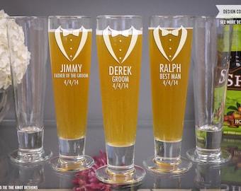 Personalized Beer Glass Groomsmen Gift Tuxedo Design - (ONE) Custom Engraved Katrina Beer Pilsner - Bachelor Party Gift - Best Man Gift