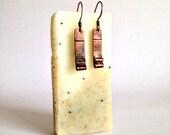 Copper earrings, rustic handmade, antiqued copper jewelry, rectangular metal earrings, recycled copper